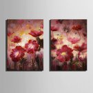 Mini Size E-HOME Oil painting Modern Red Flowers In Full Bloom Pure Hand Draw Frameless Decorative
