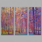 IARTS Oil Painting Modern Abstract The Hazy Purple Woods Set of 3 Art Acrylic Canvas Wall Art For