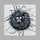 IARTS Hand Painted Modern Abstract Bird Nest With Eggs White Oil Painting On Canvas with Stretched