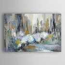 Hand Painted Oil Painting Abstract City in Blue with Stretched Frame 7 Wall Arts