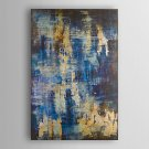 Hand Painted Oil Painting Abstract Blue and Gold Abstract with Stretched Frame 7 Wall Arts