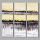 IARTS Abstract Oil Painting Modern Silver Lining Straight Picture Set of 3 with Stretched Frame Pa