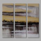 IARTS Abstract Oil Painting Modern Silver Lining Picture Set of 3 with Stretched Frame Painting Fo