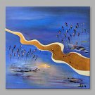 Oil Painting Abstract Tadpoles Swimming in Blue Water with Stretched Frame Handmade Oil Painting F