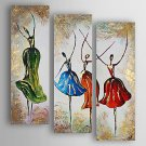 Hand-Painted  Abstract Dancers Set of 3 Canvas Oil Painting With Stretcher For Home Decoration Rea