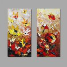 Hand-Painted Knife Modern Flower Oil Painting Wall Art With Stretcher Frame Ready To Hang