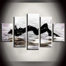 Hand-Painted Abstract Landscape Fantasy Abstract Landscape Any Shape Five Panels Canvas Oil Painti