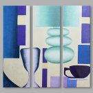 IARTS Hand Painted Abstract Oil Painting The Blue Color Block Set of 3 with Stretched Frame Painti