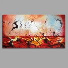 Hand Painted Oil Painting Abstract Dancer Wall Art with Stretched Framed Ready to Hang