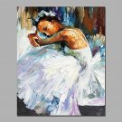 White Color  Ballerina Girl Rest Moment Acrylic Painting Canvas Art Framed With Stretcher 2 size F