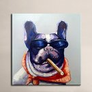 Modern Smoking Dog Canvas Art Wall Artwork Hand Painted Abstract Oil Painting Animal Canvas Painti