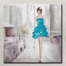 High Skill Artist Hand Painted Oil Painting Art Sexy Lady with Blue Dress Unformed Decoartion Canv