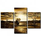 Hand-Painted Modern Abstract Elephant Giraffe Vintage African Landscape Oil Painting on Canvas  3p