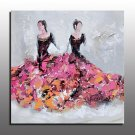 Large Hand Painted Two Beautiful Girls Oil Painting On Canvas Modern Wall Art Picture For Living R