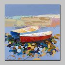 Large Hand Painted Modern Abstract Boat Oil Painting On Canvas Wall Art Pictures For Living Room H