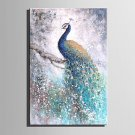 Mini Size E-HOME Oil painting Modern Blue Peacock Pure Hand Draw Frameless Decorative Painting