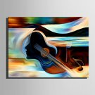 Mini Size E-HOME Oil painting Modern Abstract Violin And Women Pure Hand Draw Frameless Decorative