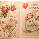 2 Unsigned Winsch Antique Vintage Valentine Postcards-Hearts Winged Cupid Cherub