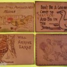 ROOSTERS CHICKENS-DUCK-4 ORIGINAL ANTIQUE VINTAGE 1907 LEATHER POSTCARDS