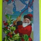 Santa Claus Rings Silver Gilt Bells - Antique Vintage 1909 Christmas Postcard