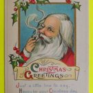Santa Claus Smoking Pipe Holly Berries - Antique Vintage 1913 Christmas Postcard