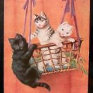 Cats Kittens in Hanging Basket-Artist Signed-Antique VTG Animal 1910 POSTCARD