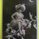 Fantasy Lady Elf/Holly Tree Crescent Moon-Original Antique RPPC Photo Postcard