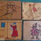 DUTCH GIRL & BOY-MEN-Lot of 4 ANTIQUE VINTAGE 1907 LEATHER POSTCARDS 1 unused