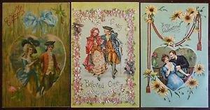 Cupids Wings Flowers Spiderwebs Lot of 3 Antique Vintage Valentine Postcards