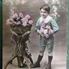 YOUNG BOY CHILD BASKET COLORED FLOWERS - ANTIQUE FRENCH REAL PHOTO POSTCARD