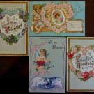 Cupids Wings Flowers Spiderwebs Lot of 4 Antique Vintage Valentine Postcards