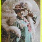 PRETTY WOMAN HAT & FURS-Joyeux Noel-HAND TINT-ANTIQUE 1907 RPPC PHOTO POSTCARD