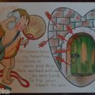 Cupid Sweats Stressful Love - Vintage 1912 Valentine Postcard Artist E. Dewees