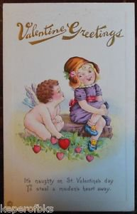 Cupid Whispers to Young Girl Hearts-Antique Vintage Stecher Valentine Postcard
