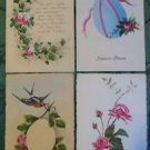 ROSE-ROSE & BIRD-EGG/ROSE-LOT of 4 UNUSED VINTAGE HANDPAINTED HANDMADE POSTCARDS
