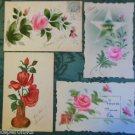 ROSES-LOT of 4 VINTAGE HAND PAINTED HANDMADE POSTCARDS-2 Undivided Backs