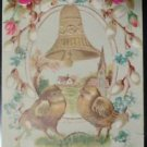 Silk Roses Chick Gold Bell-Antique Vintage Novelty EASTER Early 1900's Postcard