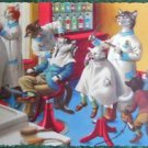 ANTHROPOMORPHIC DRESSED CAT POSTCARD-MAINZER HARTUNG-BARBER SHOP MADNESS #4880