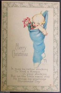Original c Rose O�Neill Kewpies Postcard-Gibson Art Co-Kewpie Christmas Stocking