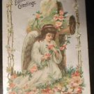 Young Girl Angel Wings Flowers Silver Gilt-Antique Vintage 1910 EASTER Postcard