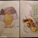ANTHROPOMORPHIC DRESSED CHICK n HAT-CHICK /UMBRELLA/NECKLACE-2 VINTAGE POSTCARDS