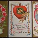 3 Antique Vintage Valentine Postcards - Gold Gilt with Cherubs Cupids Wings