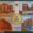 Van Orman Hotels Multiview Illinois & Indiana Vintage Curteich-Chicago Postcard