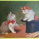 Cat in Black Top Hat-Kitten Red Bow- Gloves & Cane-A/S Vintage Animal Postcard