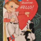 Original Hallmark 1961 Valentine Greeting Card-Boy in Baseball Gear & Dog 5 cent