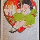 "GIRL SWINGS in HEARTS BOY BEHIND ""To My Valentine"" - VINTAGE VALENTINE POSTCARD"