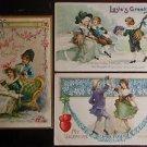 3 Antique Vintage Valentine Postcards-Flowers Colonial Children Couple Dancing
