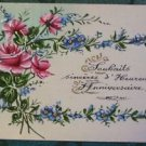 ROSES & FOR-GET-ME-NOTS SPRAY - ORIGINAL ANTIQUE HANDMADE HAND PAINTED POSTCARD