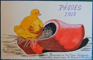 CHICK NEST n WOOD SHOE-PAQUES 1916-VINTAGE ORIGINAL HANDPAINTED EASTER POSTCARD