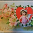 YOUNG WINGED ANGEL WILD ROSE TUCKS-ANTIQUE VINTAGE EMBOSSED VALENTINE POSTCARD